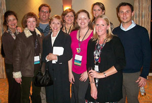 Pictured from left: Celia Bloom, Bonnie Nicholls, Aaron Hirschorn, Karen Pearson, Cathleen Wolf, Molly Jarrell, Angie Robert, Stephanie Grant, and Jonathan Hanwit.